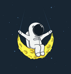 Spaceman sway on the moon vector