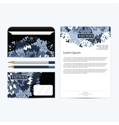 Tattoo salon corporate identity template set black vector image vector image