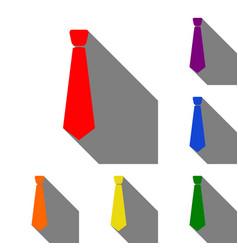 Tie sign set of red orange yellow vector