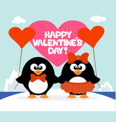 valentines day background card with penguins vector image vector image