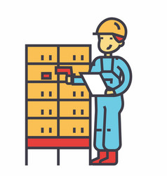 Warehouse delivery man checking bar code on post vector