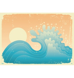 wave in oceanwater nature background with sun vector image vector image