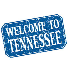 Welcome to tennessee blue square grunge stamp vector
