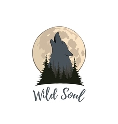 Wolf howling on the moon in the forest vector image