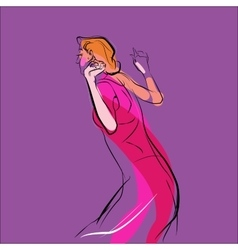 Woman dancing music vector image vector image