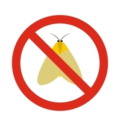 Prohibition sign moth icon flat style vector