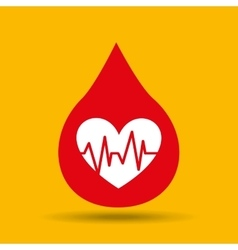 Hands care cardiology heart pulse icon vector