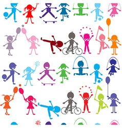 Seamless background with stylized colored kids vector image