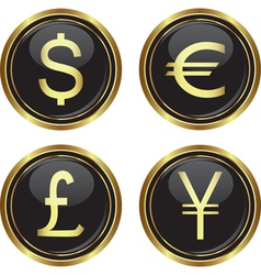 Dollar euro yen and pound icons vector