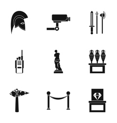 Going to museum icons set simple style vector