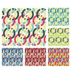 Entwined rings Seamless patterns vector image