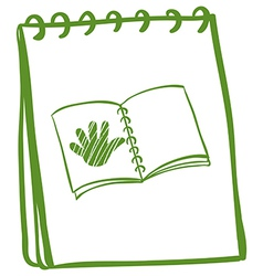 A notebook with a sketch of a book with a hand at vector image