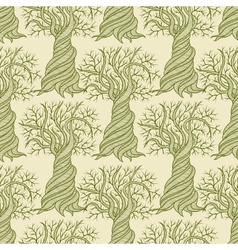 Seamless pattern with curling trees vector