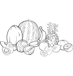 Tropical fruits for coloring book vector