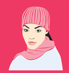 girl in pink hat and scarf vector image