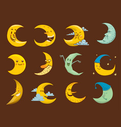 Different moon month face vector