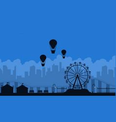 Amusement park scnery on blue background vector