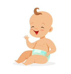 Sweet little baby in a diaper sitting and laughing vector