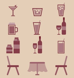 Drinks icons set in restaurant vector