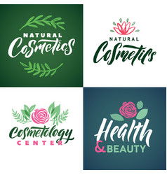 Natural cosmetics logo health beauty and vector