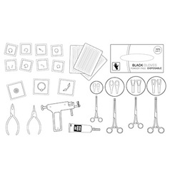 Set of professional piercing equipment contour vector