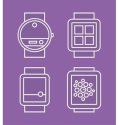 Wrist watch phone flat white line drawn icon vector
