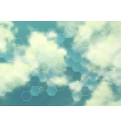 Cloudscape design with hexagon texture vector
