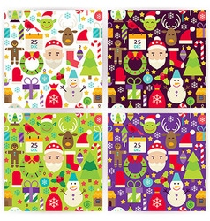 Four flat merry christmas patterns set vector