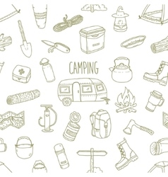 Camping hand drawn seamless pattern vector