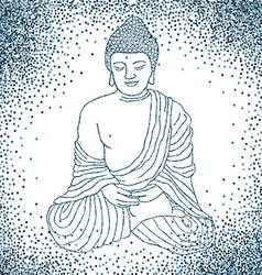 Buddha in meditation with glitter background vector