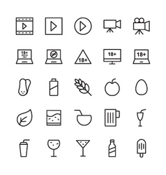 Hotel Outline Icons 13 vector image