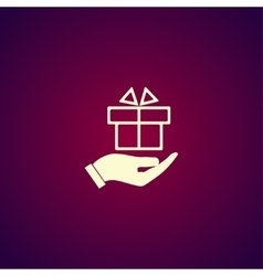 Hand and gift icon vector
