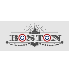 Boston city name with flag colors styled letter o vector
