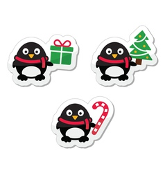 Christmas icons with penguins vector image