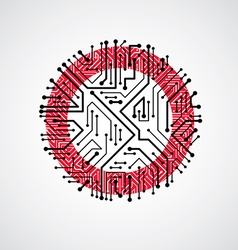 Abstract computer circuit board red round t vector