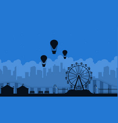 Amusement park scnery on blue background vector