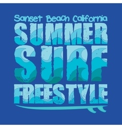 California surfing t-shirt vector
