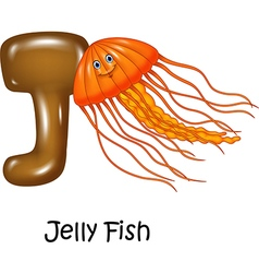 Cartoon of j letter for jelly fish vector