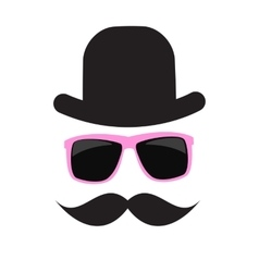 Cute Handdrawn Glasses Hat and a Mustache vector image
