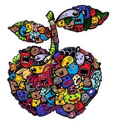 doodle apple cartoon vector image