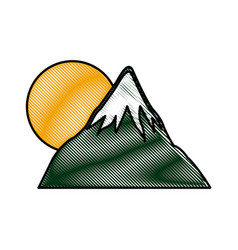 Drawing mount fuji sun japan landscape natural vector