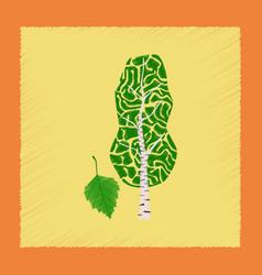 Flat shading style plant betula vector