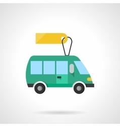 Green toy bus flat color icon vector image vector image