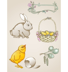 hand drawn easter symbols vector image