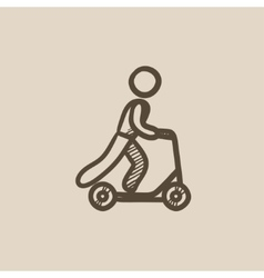 Man riding kick scooter sketch icon vector image