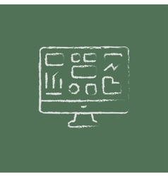 Monitor with a business graph icon drawn in chalk vector