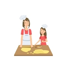 Mother and child making cookies together vector