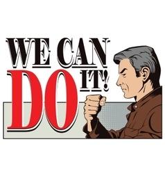 Patriotic slogans we can do it vector
