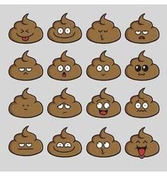 Poop cute cartoon emoji set vector