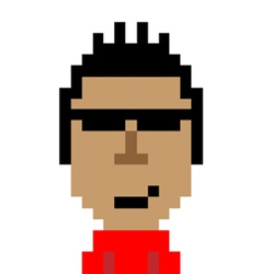 Red shirt man smart emoticon pixel art character vector